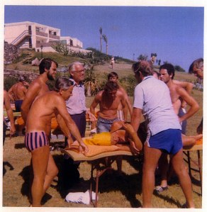 Alan Stoddard teaching a class at inaugural IFOMT meeting in Gran Canaria, 1973