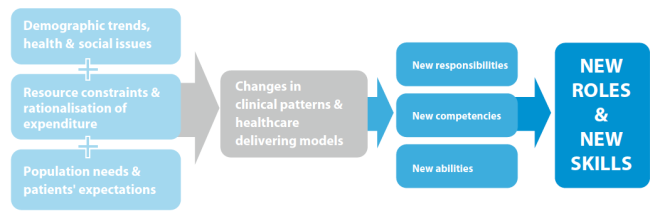Megatrends create new conditions which change the way in which health services are provided and necessitate new competencies which become manifest in new roles (EU 2012, p. 6).