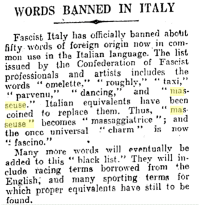 Massage word banned in Italy
